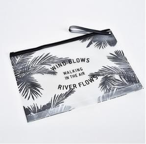 5 PCS Fashion Travel Women Clear Transparent Cosmetic Bag Small Large PVC Necessary Makeup Bag Case Bath Wash Organizer Set(Coconut Tree (30 * 23cm))