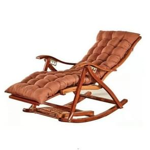 Rocking Chair Adult Folding Lunch Break Easy Chair Living Room Napping Bed Home Balcony Leisure Old Bamboo Chair, Color:Coffee With Long Cushion