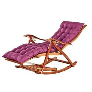 Rocking Chair Adult Folding Lunch Break Easy Chair Living Room Napping Bed Home Balcony Leisure Old Bamboo Chair, Color:Purple With Long Cushion