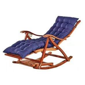 Rocking Chair Adult Folding Lunch Break Easy Chair Living Room Napping Bed Home Balcony Leisure Old Bamboo Chair, Color:Blue With Long Cushion