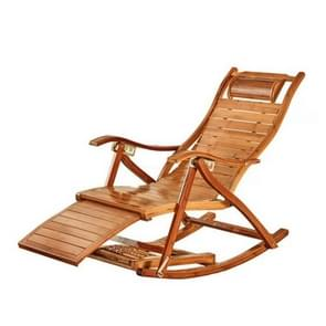 Rocking Chair Adult Folding Lunch Break Easy Chair Living Room Napping Bed Home Balcony Leisure Old Bamboo Chair, Color:Chair With No Cushion