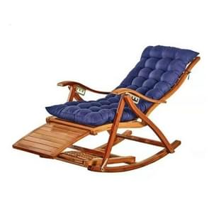 Rocking Chair Adult Folding Lunch Break Easy Chair Living Room Napping Bed Home Balcony Leisure Old Bamboo Chair, Color:Blue With Short Cushion