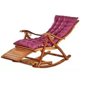 Rocking Chair Adult Folding Lunch Break Easy Chair Living Room Napping Bed Home Balcony Leisure Old Bamboo Chair, Color:Purple With Short Cushion