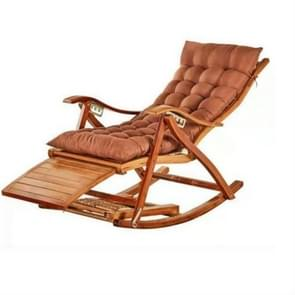 Rocking Chair Adult Folding Lunch Break Easy Chair Living Room Napping Bed Home Balcony Leisure Old Bamboo Chair, Color:Coffee With Short Cushion
