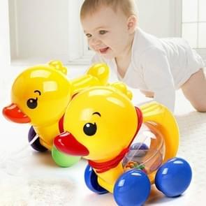 Baby rammel trekken touw eend dieren hand Jingle schudden Bell auto rammel bels speelgoed muziek Handbell voor kinderen (geel model 130g)