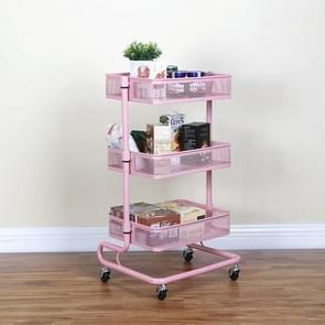 Metal Kitchen Trolley Karren Op wielen opslag rack plank plantaardige vloer badkamer plank opslag (Roze)
