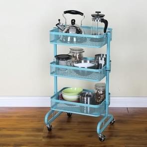 Metal Kitchen Trolley Karren Op wielen opslag rack plank plantaardige vloer badkamer plank opslag(Blauw)