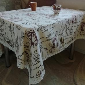 Eiffel Tower Cotton Linen Tablecloth Multi-purpose Universal Coffee Table Dustproof Cover, Size:140x140cm
