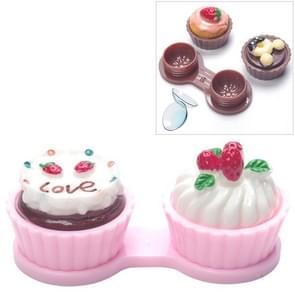 Cartoon cute crème cake glazen dubbele doos contact lenzen paar vak (roze)