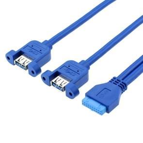 50CM USB3.0 Data Cable Moederbord 20p naar dual usb3.0 baffle lijn met oor