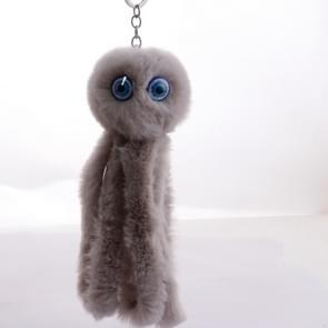Plush Cool Octopus Soft Pompom Fluffy Fur Keychain(Light Gray)
