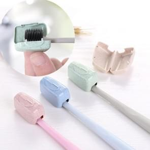 4 PCS Wheat Straw Portable Travel Toothbrush Case Box, Random Delivery