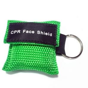 CPR Emergency Face Shield Mask Key Ring Breathing Mask(Green)