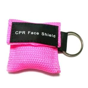 CPR Emergency Face Shield Mask Key Ring Breathing Mask(Pink)