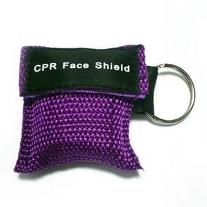 CPR Emergency Face Shield Mask Key Ring Breathing Mask(Purple)