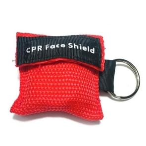 CPR Emergency Face Shield Mask Key Ring Breathing Mask(Red)