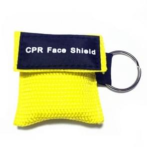CPR Emergency Face Shield Mask Key Ring Breathing Mask(Yellow)