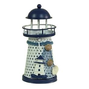 2 PCS Mediterranean Style Round Hole tin Lighthouse Candlestick Home Desktop Decoration Wrought Iron Candlestick(Tower)