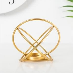 Creative Modern Minimalist Geometric Wrought Iron Gold Candle Holder Ornaments Home Decorations Romantic Candlelight Ornaments, Size:Round