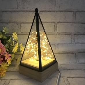 Power Switch Button LED Night Light Wooden Floor Lamp Triangle Tower Glass Table Lamp Bedroom Living Room Home Decoration Fixtures Lighting