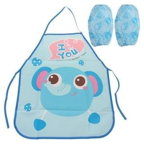 Cute Kids Apron Sleeves Waterproof Protection Set(Elephant)