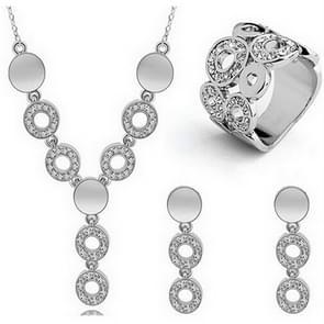 Mode Crystal vrouwen cirkel Strass ketting oorbellen ring set (zilver)