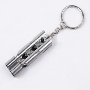 Outdoor High-decibel Stainless Steel Self-protection Double Tube Survival Whistle with Key Ring(Silver)