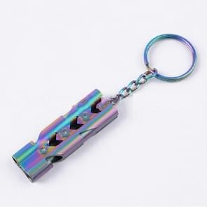 Outdoor High-decibel Stainless Steel Self-protection Double Tube Survival Whistle with Key Ring(BlackColor titanium)