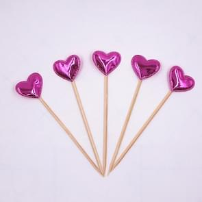 5 PCS/Unit Lovely Heart Star Crown Cake Topper Birthday Cupcake Flag Wedding Decoration(Rose Red Heart)