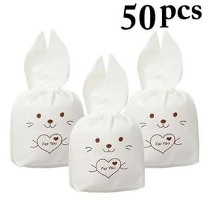 50 PCS Cute Long Ear Bag Bunny Candy Biscuit Bag Snack Bag Gift Bag  Party Birthday Decoration(Brown Rabbit)