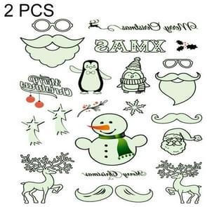 2 PC'S lichtgevende waterdichte milieu kerst Tattoo sticker (Le002)