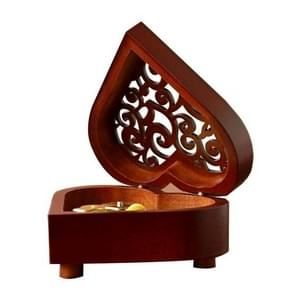 2 PCS Creative Heart Shaped Vintage Wood Carved Mechanism Musical Box Wind Up Music Box Gift, Golden Movement(Castle in The Sky)