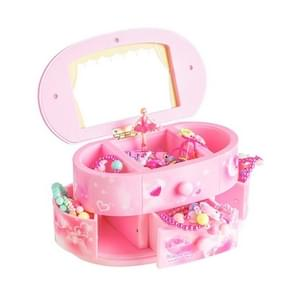 Beautiful Ballet Dancer Doll Music Box Jewelry Organizer Make Up Box Portable Musical For Kids gift(Pink)