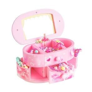 Mooie ballet danser pop muziekdoos sieraden organisator make-up vak draagbare musical voor Kids Gift (roze)