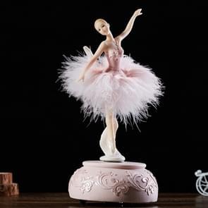 Elegant Refined Ballerina Dance Carousel Music Box Barbie Feather Music Box(Pink)