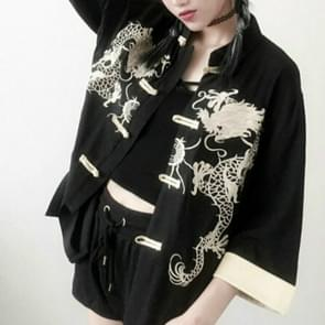 Geborduurde Dragon losse linnen Vintage jas  grootte: One size (zwart)