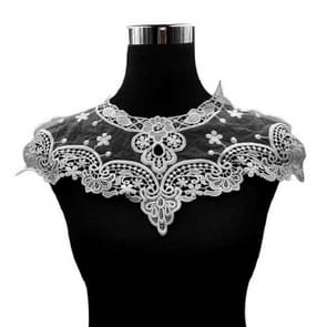 Milk Silk Embroidery Lace Corsage Fake Collar DIY Clothing Accessories(White)
