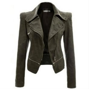 Herfst en winter vrouwen motorfiets jas rits twee slijtage leer  grootte: XL (licht groen)