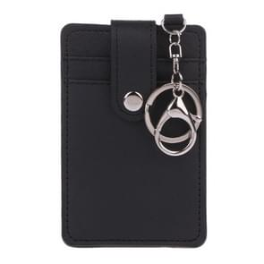 Mini Women Card Holder Portable ID Card Holder Bus Cards Cover with Keychain(Black)