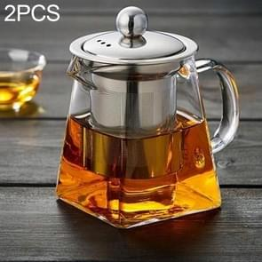 2 PCS Stainless Steel Infuser Filter Clear Heat Resistant Glass Tea Pot(350ml)