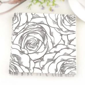 Kleurrijke gedrukte Wedding Flower Banquet Servetten Placemats (Zwart)
