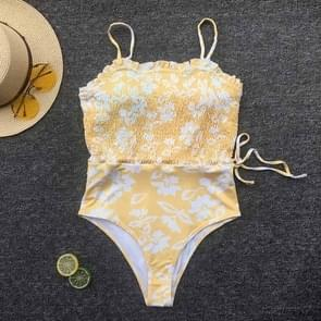 2 PCS Women Printed Tube Top Sling One-piece Skinny Swimsuit, Size:S(Yellow)
