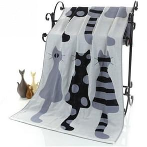Cute Cat Cotton Gauze Cartoon Adult Bath Towel Home Textile Large Towel Bathrobe Camping Sport Beach Towel Children Blanket(Grey)