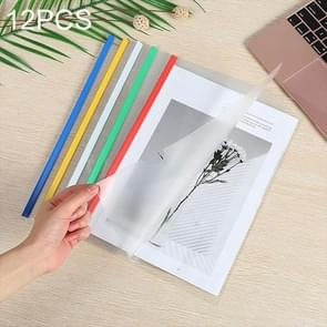 12 PCS A4 Folder Transparent PP Report Cover Spine Bar Folder, Random Color Delivery 12 mixed color