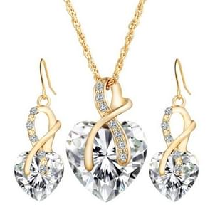 3 STKS/set vrouwen hartvormige Crystal Zircon Earring ketting sieraden set (wit)