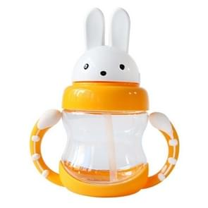 Cute Rabbit Baby Feeding Cup With Straw Children Learn Feeding Drinking Bottle With Handle Kids Water Bottles Training Cup(Yellow)