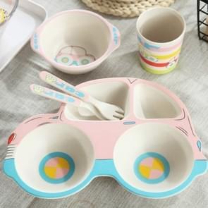Bamboo Fiber Cartoon Dinner Plate For Children(Pink)