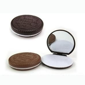 Makeup Tool Pocket Mirror Makeup Mirror Mini Dark Brown Cute Chocolate Cookie Shaped Random Color(Random Color)