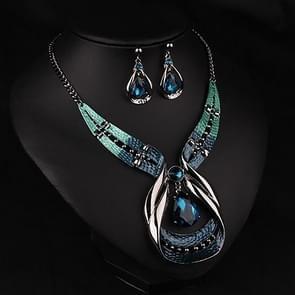 Women Fashion Waterdrop Diamond Earrings Necklace Jewelry Set