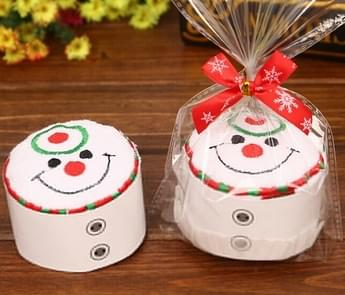 Christmas Creative Cake Towel Gift Washcloth Christmas Cute Towel Presents(Snowman)